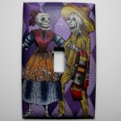 Single Switch Plate Cover, Day of the Dead Skeletons with Purple Background