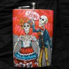 "Stainless Steel Flask - 8oz., Day of the Dead Couple with Red Background ""Love"""