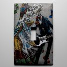 Single Switch Plate Cover, Day of the Dead Skeletons with Grey Background, Music Notes