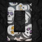 Single Switch Plate Cover, Flat, Skull and Cross Bones with Black Background