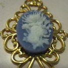 Set of Two Blue and White Flower Cameo on Gold Tone Filigree Setting