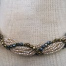 Vintage Choker Necklace, Stings of Pearl Beads Wrapped