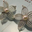 Silver Colored Flower Clip On Earrings with Pearl Beads