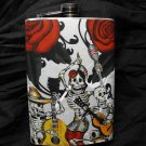 Stainless Steel Flask - 8oz., Day of the Dead Skeletons with Guitars, Rose Background