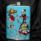 Stainless Steel Flask - 8oz., Day of the Dead Couple on Light Blue Background