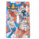 Single Switch Plate Cover, Day of the Dead Couple with Flower Print Background