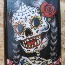 Stainless Steel Flask - 8oz., Colorful Day of the Dead Skeleton Woman