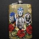 Stainless Steel Flask - 8oz., Lucha Libre Guys with Flowers
