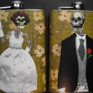 Set of Two Stainless Steel Flask - 8oz., Day of the Dead Skeleton Bride and Groom, Flower Background