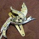 Silver and Rhinestone Bird Hair Clip