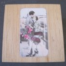 Wooden Box with Vintage Kissing Couple Image on Top