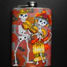 Stainless Steel Flask - 8oz., Day of the Dead Skeleton Couples Playing Instruments