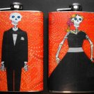 Set of Two Stainless Steel Flask - 8oz., Day of the Dead Skeleton Man and Woman, Orange Background