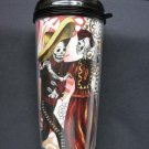 Travel Mug, Day of the Dead Couple Dancing, Flower Background