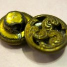 Vintage Small Brass Colored Swirl Design Buttons, 2 Pc