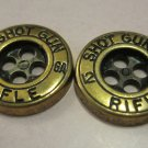 """12 Gage Shot Gun Rifle"" Gold Buttons, 2 Pc"