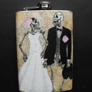 Stainless Steel Flask - 8oz., Day of the Dead Skeleton Bride and Groom Light Background