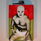 Stainless Steel Flask - 8oz., Lucha Libre Man with Red and Light Green Background