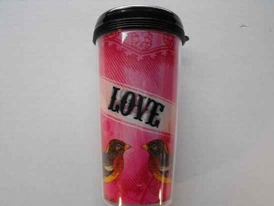 Travel Mug, Love Birds with Pink Background
