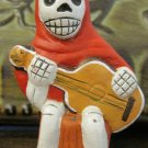 Quinoa Clay Day of the Dead Figure, Man in Red Cloak Playing Guitar
