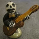Ceramic Day of the Dead Figure, Man in Black Suit Playing Guitar