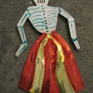 Hand Painted Tin Day of the Dead Figure, Women in Red Skirt