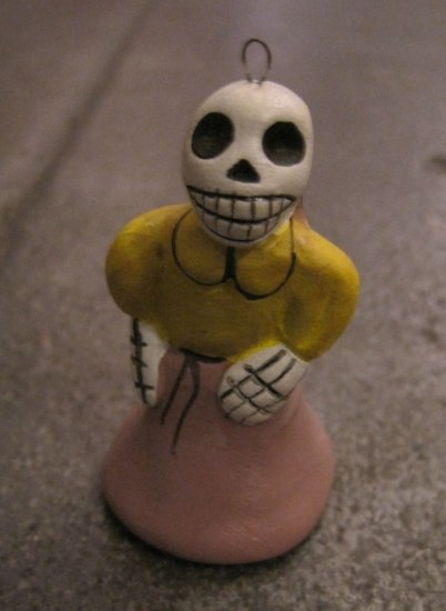 Quinoa Clay Day of the Dead Figure, Woman in Yellow and Purple