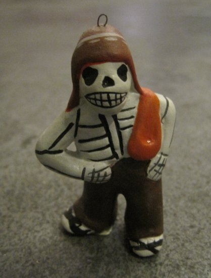 Ceramic Day of the Dead Figure, Man with Pants, Hat, and Blanket