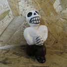 Quinoa Clay Day of the Dead Figure, Man in Brown Pants, Red Tie, Down on Bended Knee