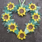 Hand Cut Paper Heart, Yellow and Sun Flowers
