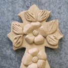 Hand Made Clay Cross with Flower Design 1