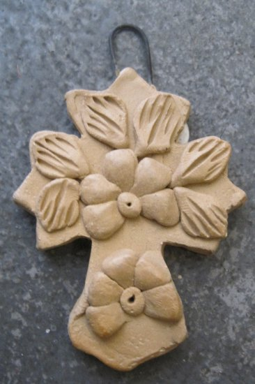 Hand Made Clay Cross with Flower Design 6