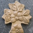 Hand Made Clay Cross with Flower Design 8