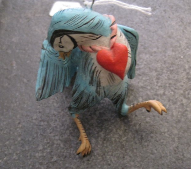 Hand Painted Clay Blue Bird with Heart Necklace, Hanger/Ornament