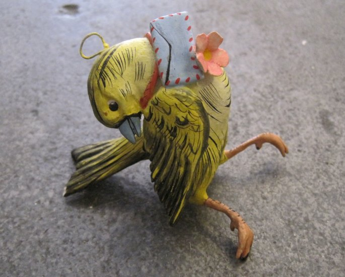 Hand Painted Yellow Clay Bird with Letter and Flower , Hanger/Ornament