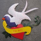 """Hand Painted Tin Bird Hanging Ornament, White and Purple, """"Con Amor"""" Banner"""