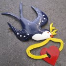 Hand Painted Tin Bird Hanging Ornament, Purple and White, Ribbon and Heart
