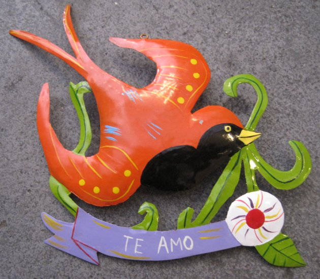 "Hand Painted Tin Bird Hanging Ornament, Orange and Black, ""Te Amo"" Banner"