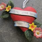 """Hand Painted Clay Heart, Flowers, Banner """"Nuestro Amor Vence Todo"""""""""""