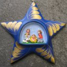Hand Made and Blue Painted Clay Star Nativity Scene, Ornament