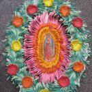 Hand Cut Paper Ornament with Virgin Mary and Saint Picture