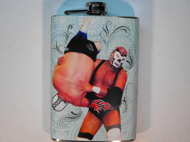 Stainless Steel Flask - 8oz., Lucha Libre Men Wrestling with Pattern Blue Background