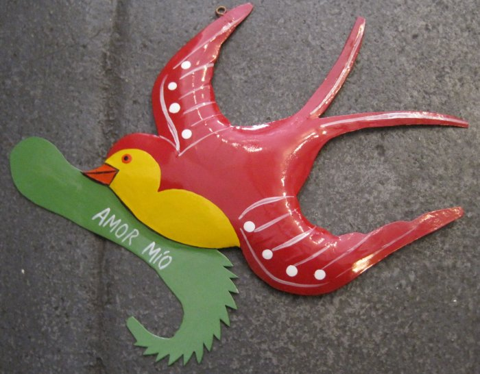 "Hand Painted Tin Bird Hanging Ornament, Red and Yellow, Banner with ""Amor Mio"""
