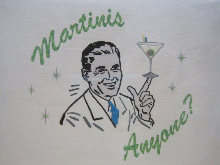 """Martinis Anyone?"" Retro Print Birthday Card"