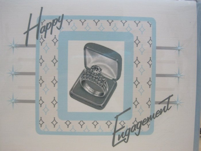 """Happy Engagement"" Retro Print Engagement Card"