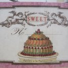 """Sweet"" Vintage Print Cake and Cherubs Hanging Gift Card"