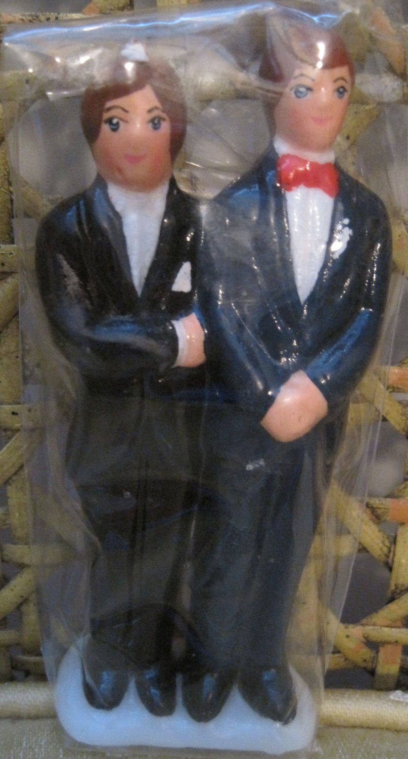 Groom and Groom Wedding Candle, Black Suits