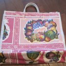 Pink Background with Flower and Fruit Print, Oil Cloth Bag
