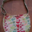 Green Colored Canvas, Colored Heart Print Tote Bag