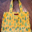 Yellow Canvas Tote Bag, Tree Print
